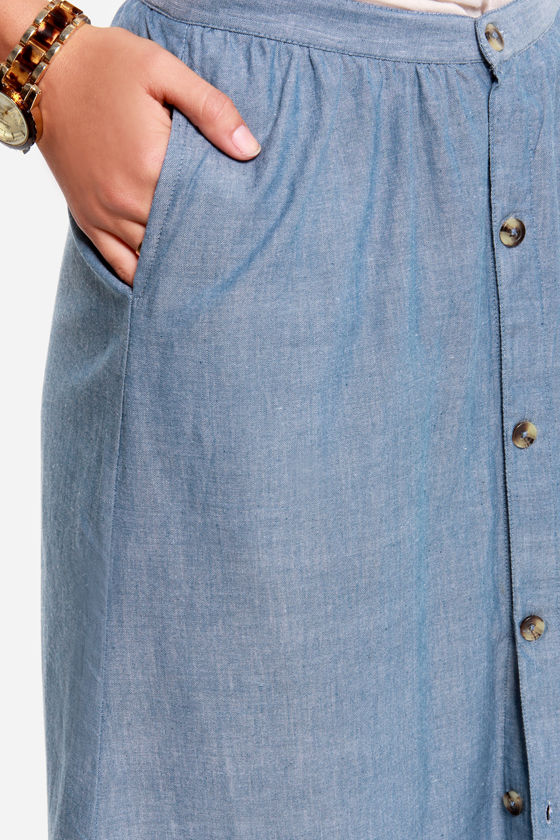 RVCA Lush Deserts Chambray Maxi Skirt at Lulus.com!