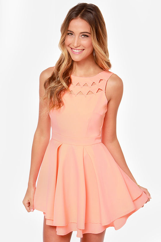Sexy Coral Dress - Backless Dress - Skater Dress - Neon Coral ...