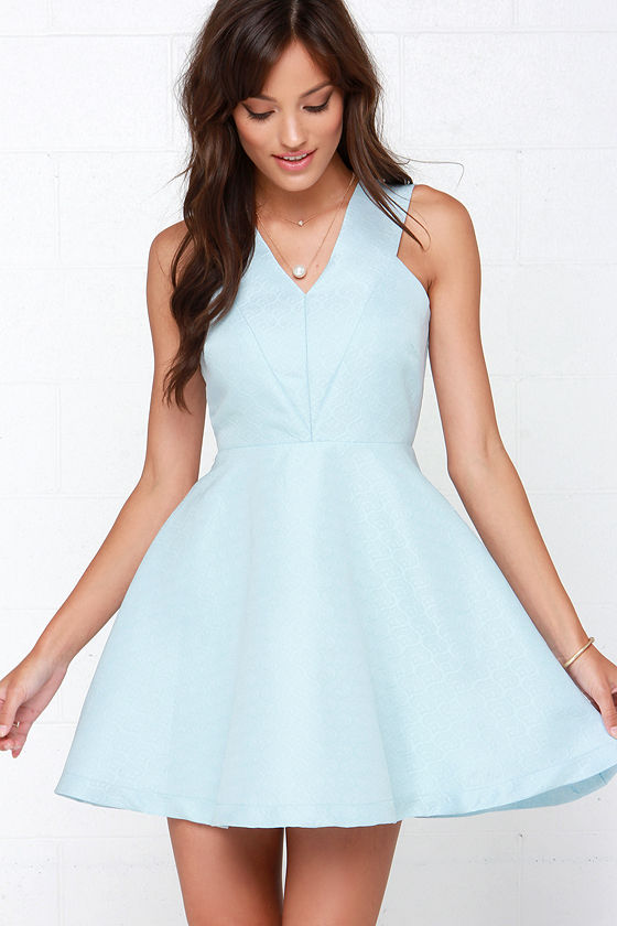 Light Blue Fit and Flare Dresses