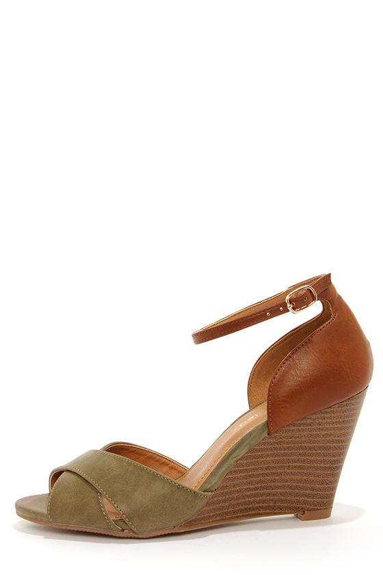 5f6ea8099f3414 Cute Color Block Wedges - Wedge Sandals - Peep Toe Wedges -  26.00