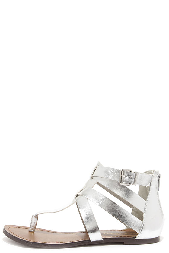 5af00b499ed Cute Silver Sandals - Gladiator Sandals - Flat Sandals -  21.00