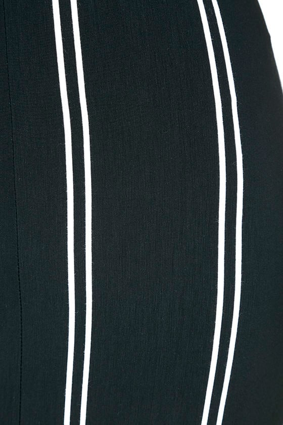 One for the Road Black Striped Maxi Dress 7