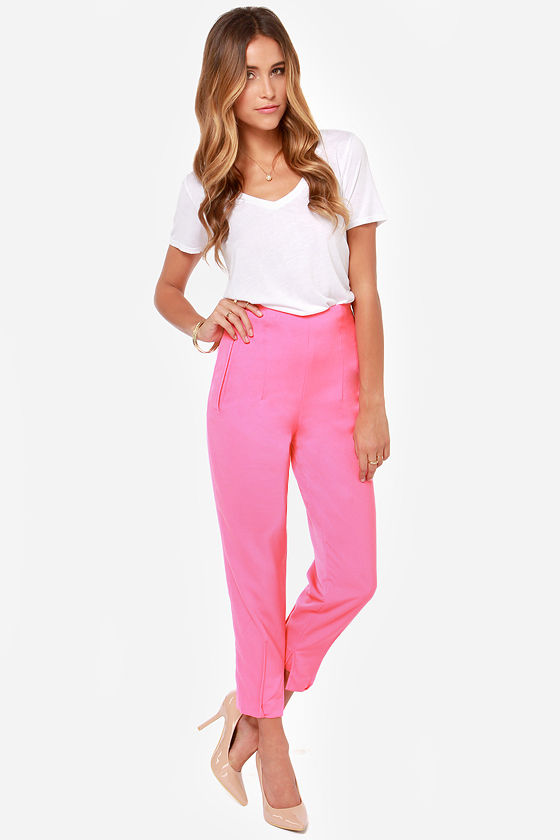 Cute Hot Pink Pants - High-Waisted Pants - Slouch Pants - Joggers ...