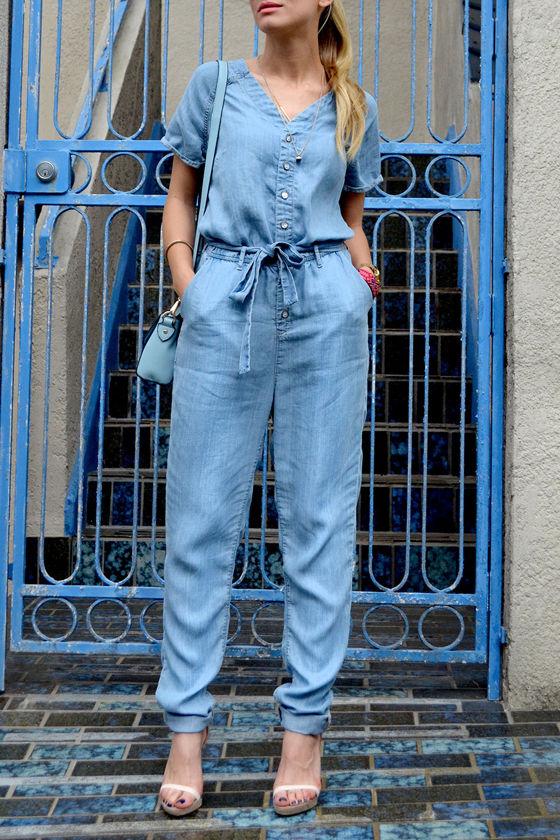 Dittos Sela Blue Denim Jumpsuit at Lulus.com!