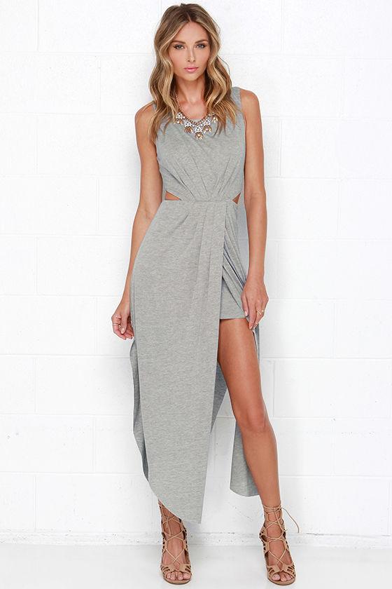 12a26c136f Flowy Heather Grey Dress - Maxi Dress - Tulip Maxi Skirt -  49.00