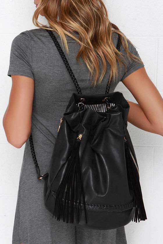 Cute Black Purse - Vegan Leather Backpack - Bucket Backpack - $38.00