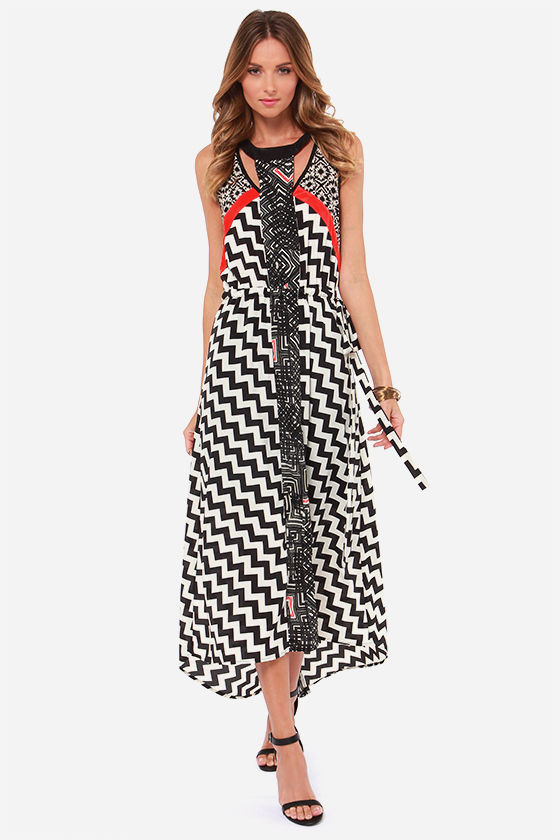 Collective Concepts We Are Tonight Black Print Maxi Dress at Lulus.com!