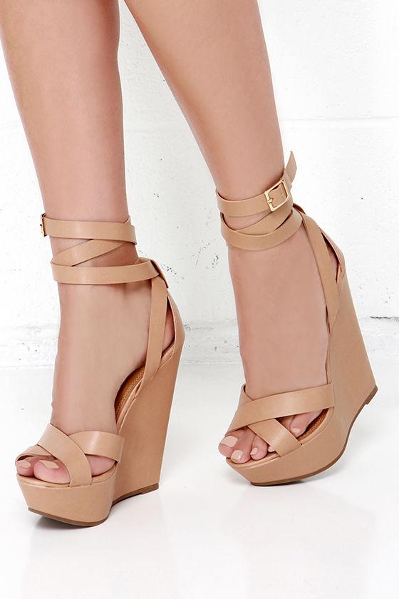 Cute Natural Wedges - Platform Wedges - Wedge Sandals - $32.00