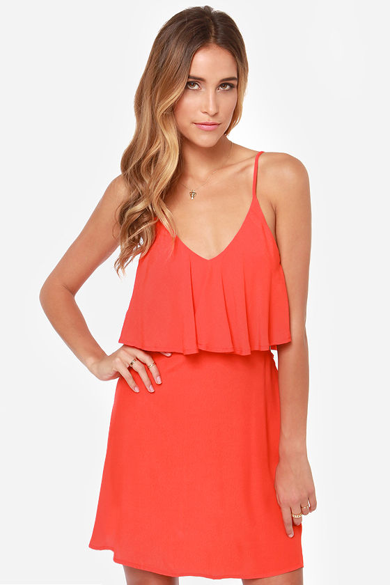 Let It Burn Cutout Coral Red Dress at Lulus.com!