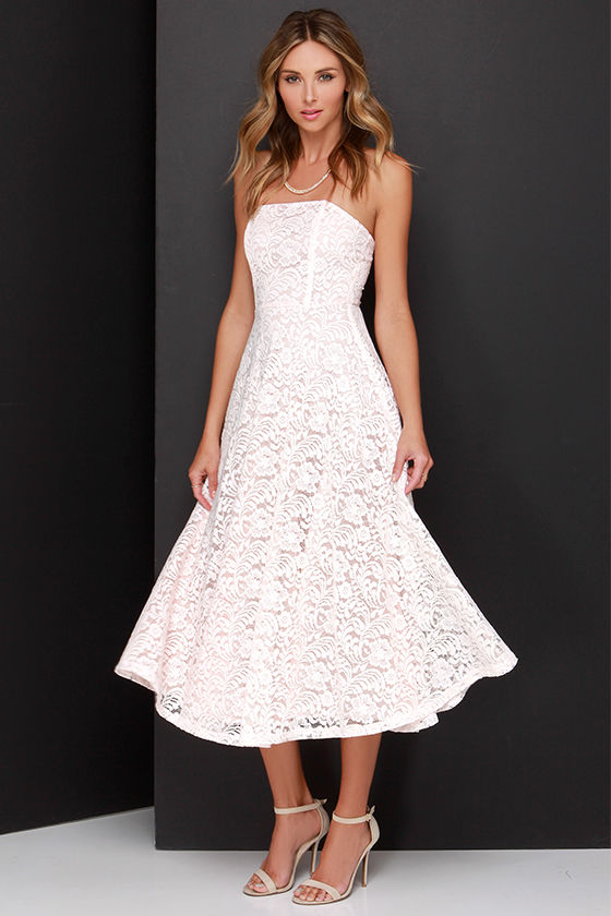 b65b2bef1846 Lace Dress - Midi Dress - Blush Pink Dress - $60.00