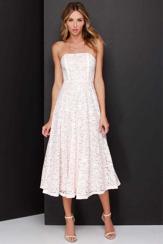 8ed79f3dac6c Delve into Decadence Blush Pink Strapless Lace Midi Dress