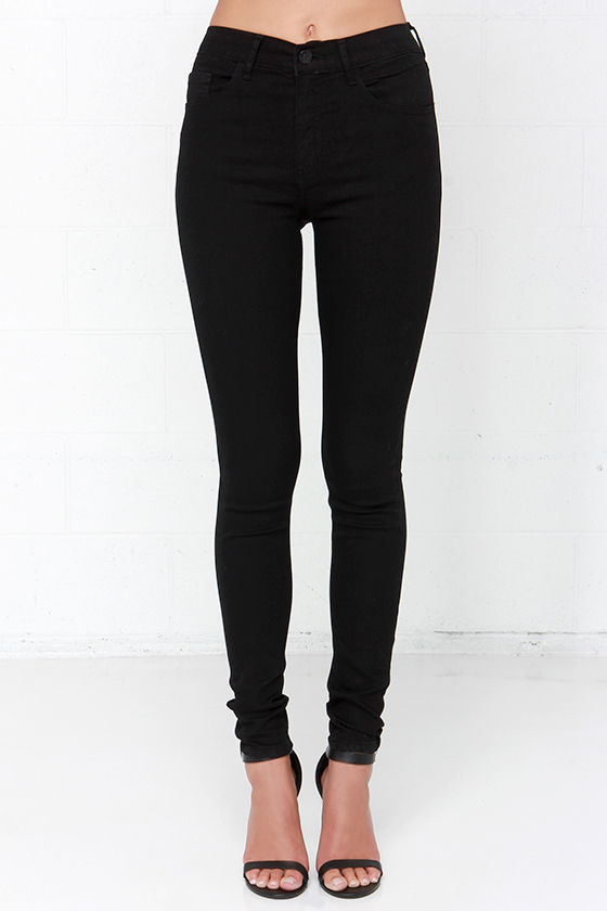 Cool High-Waisted Jeans - Black Jeans - Skinny Jeans - $66.00
