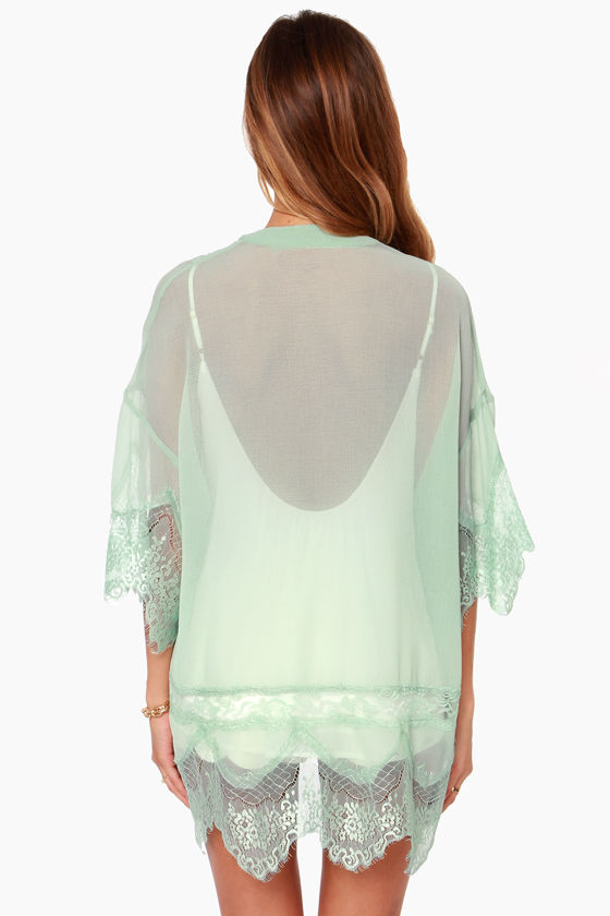 Rambling Rose Mint Green Lace Kimono Top at Lulus.com!