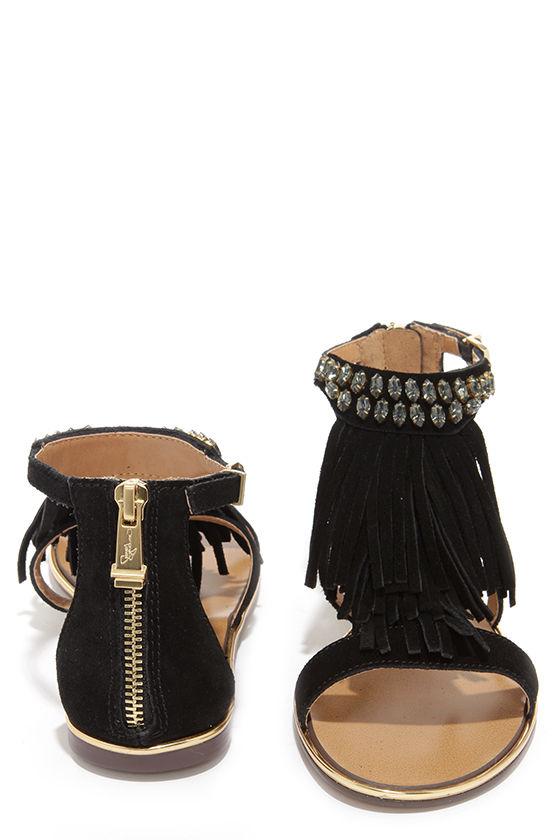 958d4855017157 Report Signature Calin Black Suede Leather Beaded Fringe Sandals