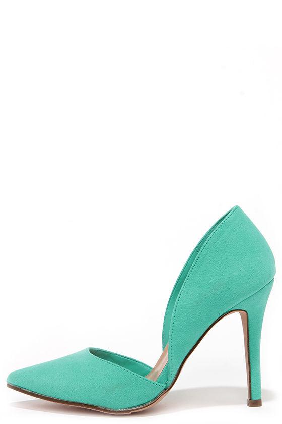 44ba5173445 Cute Aqua Heels - Green Pumps - D Orsay Heels -  26.00