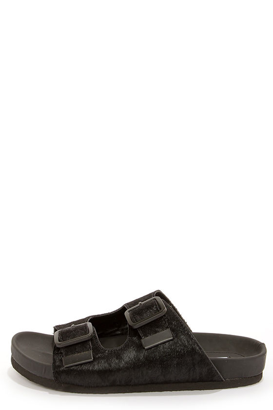19576328343 Steve Madden Boundree - Black Sandals - Pony Fur Sandals -  89.00