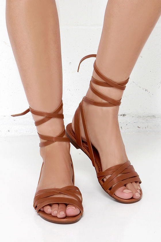 Cute Tan Sandals Leg Wrap Sandals Flat Sandals 21 00