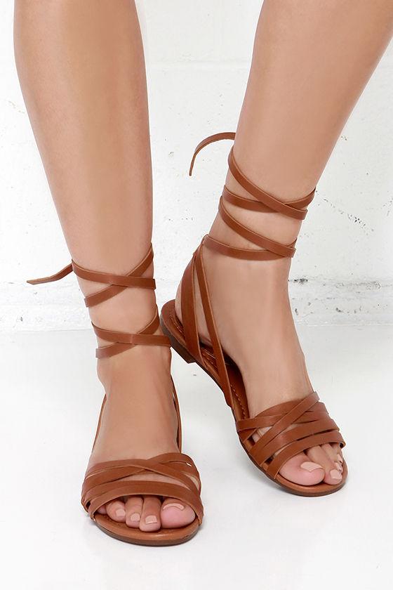 a74eb75e3b3c3a Cute Tan Sandals - Leg Wrap Sandals - Flat Sandals -  21.00