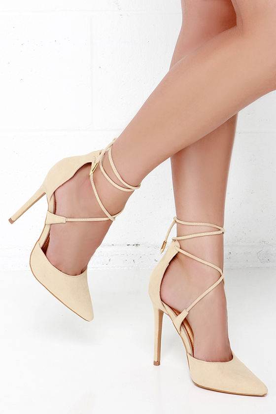 Cute Nude Heels - Lace-Up Heels - Caged Heels - $36.00