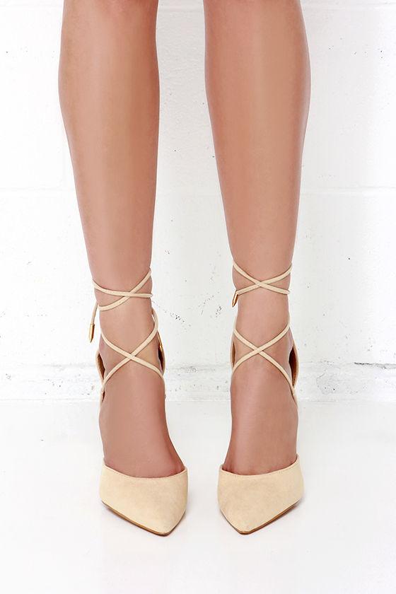c6f20c9c6ec7 Cute Nude Heels - Lace-Up Heels - Caged Heels -  36.00
