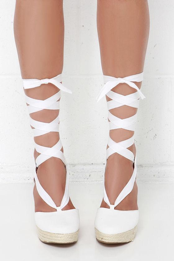 Cute White Wedges - Leg Wrap Wedges - Espadrille Wedges -  30.00