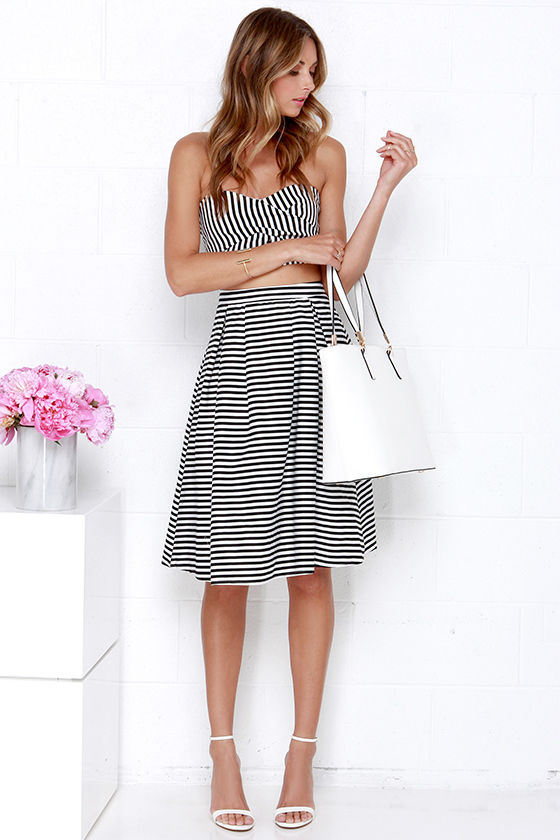 aff156c28b Lovely Black and Ivory Dress - Strapless Dress - Two-Piece Dress ...