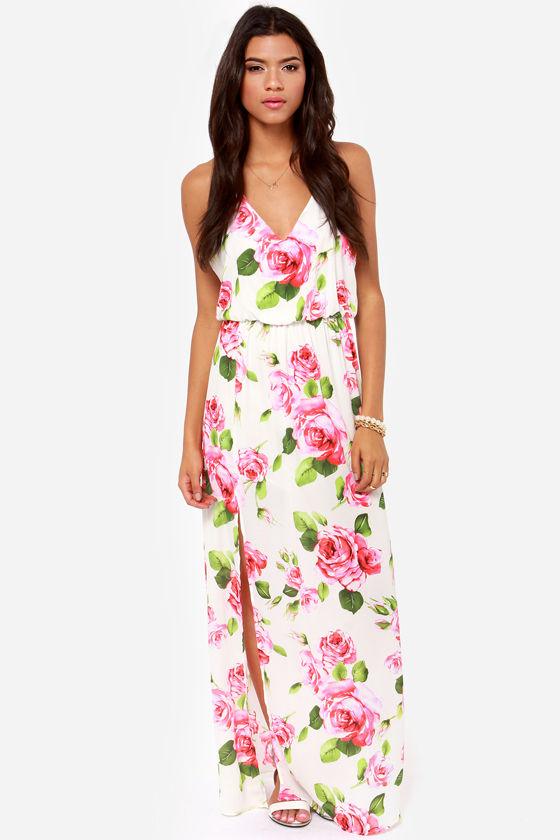 Beautiful Ivory Dress - Floral Print Dress - Maxi Dress - $49.00