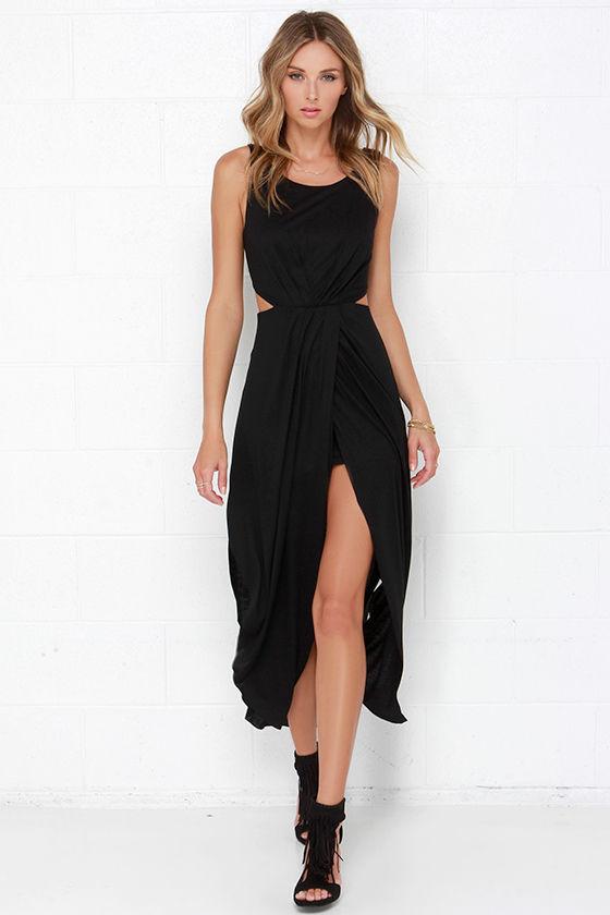 83c7e7076f Flowy Black Dress - Maxi Dress - Tulip Maxi Skirt -  49.00