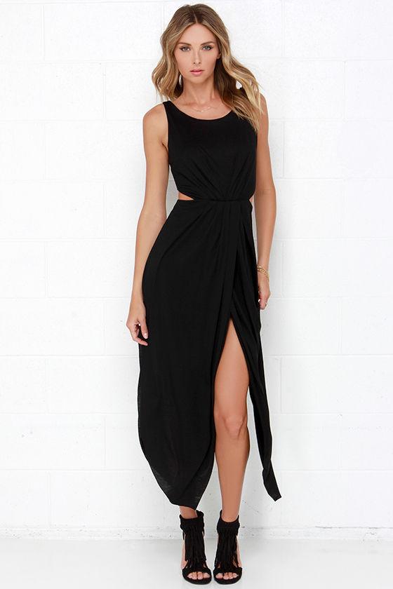 0811444557e Flowy Black Dress - Maxi Dress - Tulip Maxi Skirt -  49.00