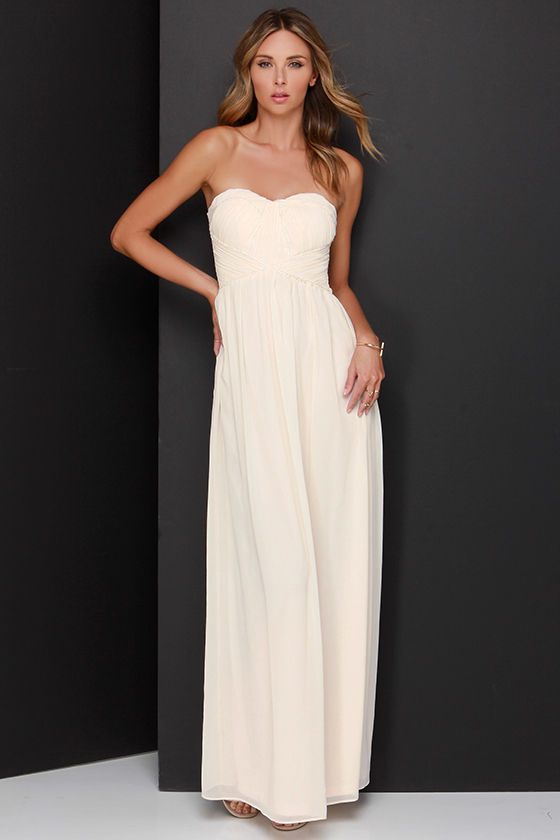 1 - Elegant Cream Dress - Maxi Dress - Strapless Dress - $57.00
