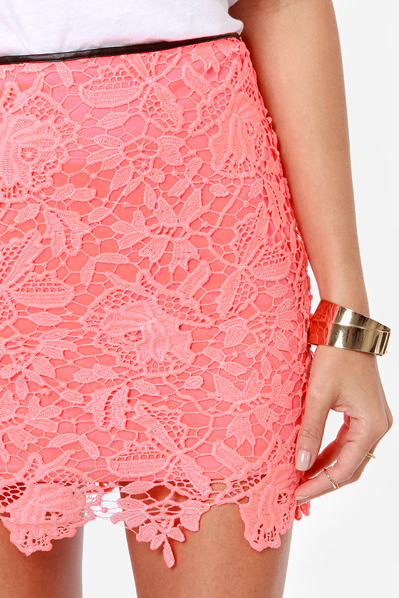 Neon the Double Neon Pink Lace Skirt at Lulus.com!