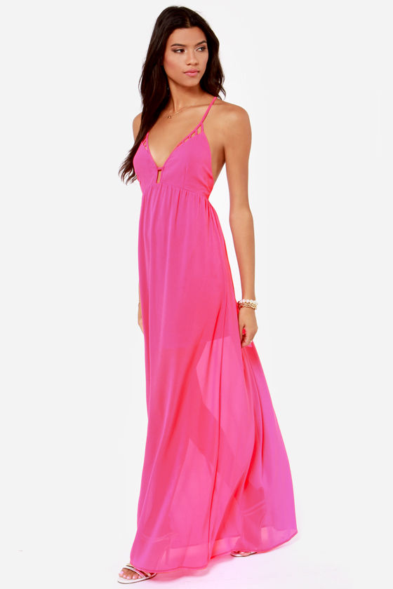 Oh So Coy Backless Fuchsia Maxi Dress at Lulus.com!