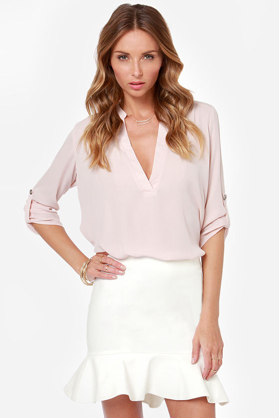 Hello Again Ivory Trumpet Skirt at Lulus.com!