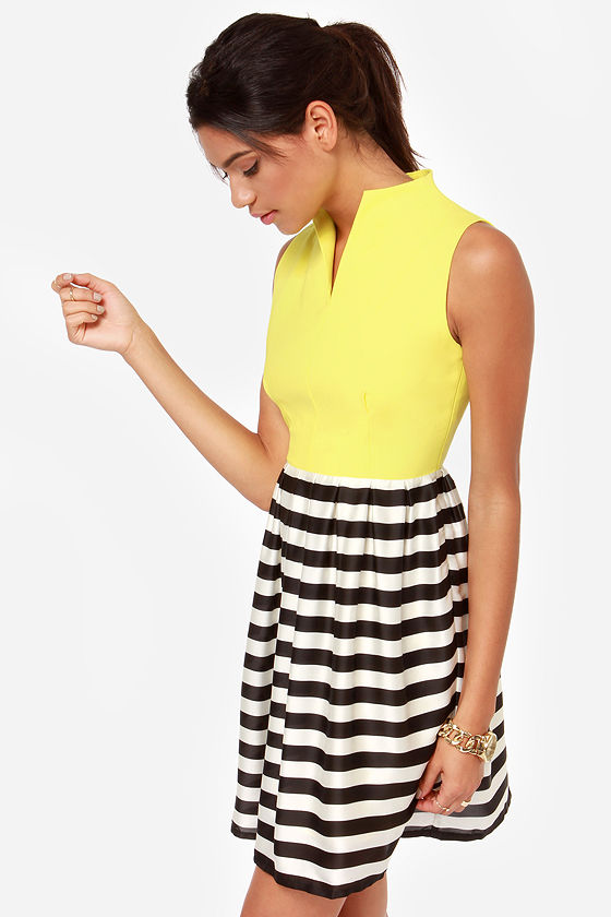 Take a Stripe at It Black, Ivory, and Yellow Dress at Lulus.com!