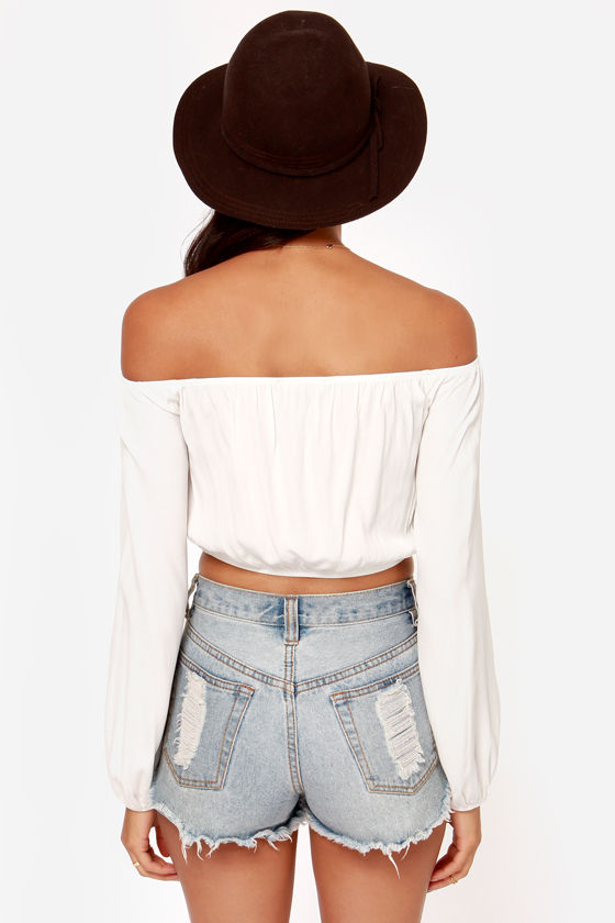 For Love & Lemons Chi Chi Ivory Crop Top at Lulus.com!