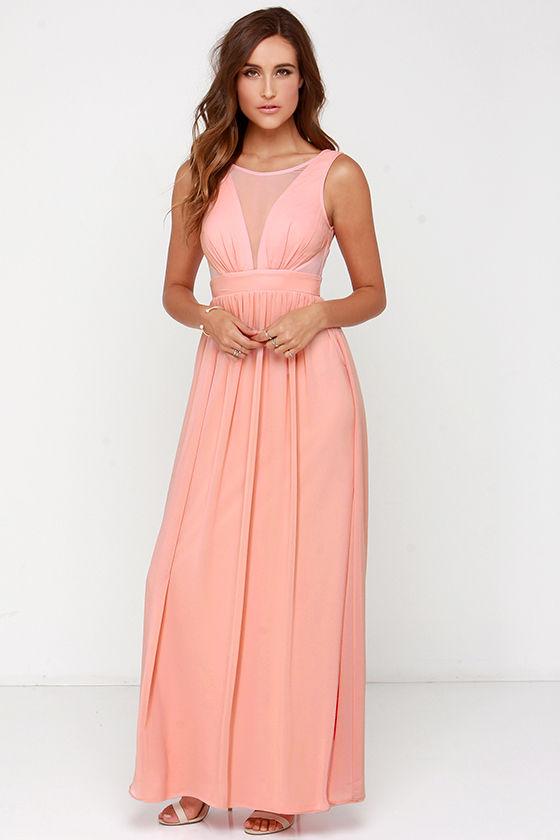 Bright Like a Diamond Peach Maxi Dress