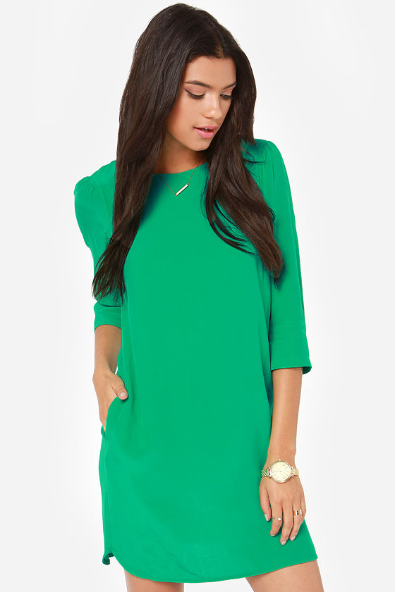 Cute Green Dress - Shift Dress - Dress with Sleeves - $70.00