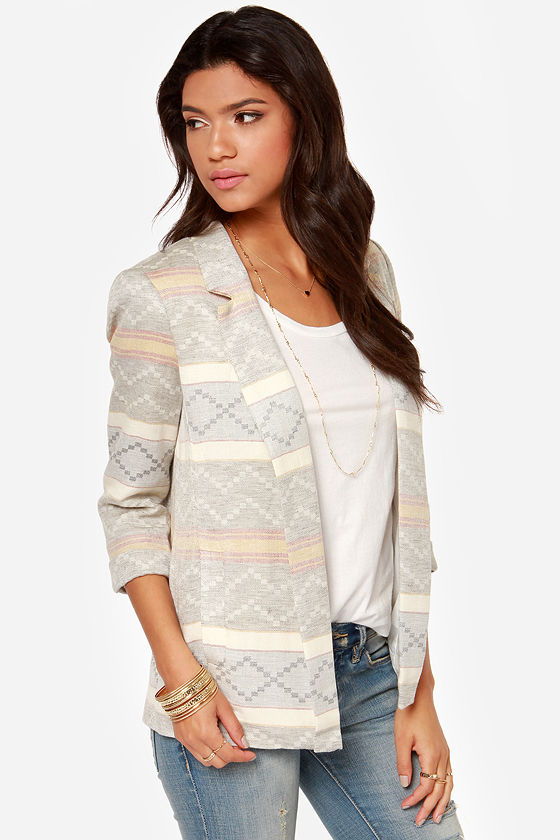 Worth a Thousand Words Grey Print Blazer at Lulus.com!