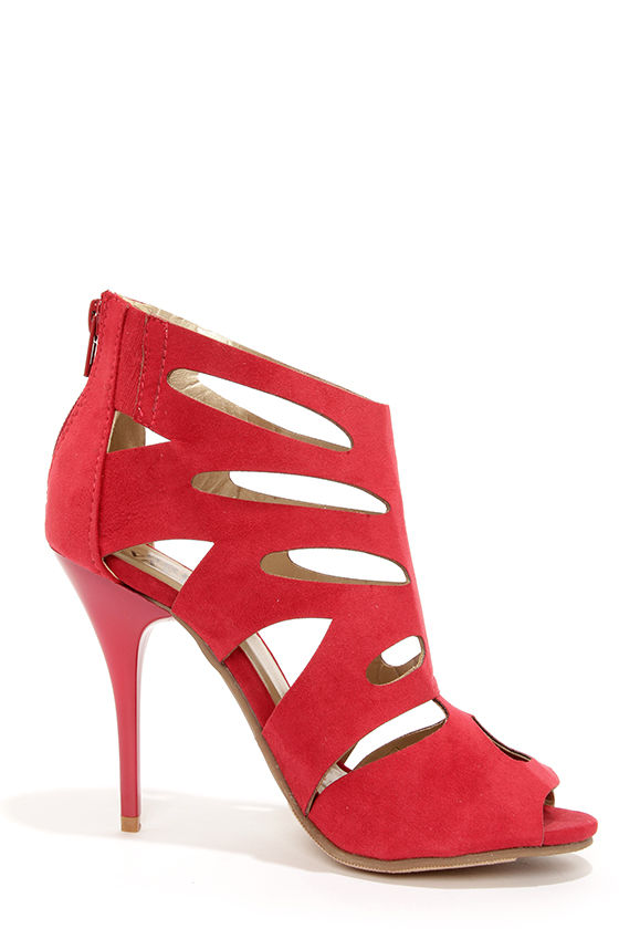 Bruno Valenti Brittney 3 Red Suede Cutout High Heel Booties at Lulus.com!