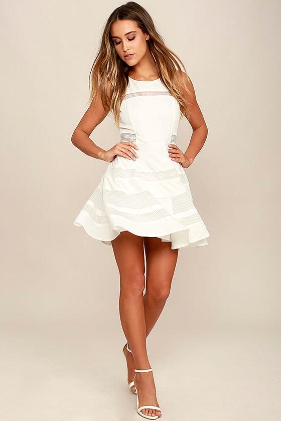 ecfbf3401d Cute Ivory Dress - Skater Dress - Mesh Dress -  56.00