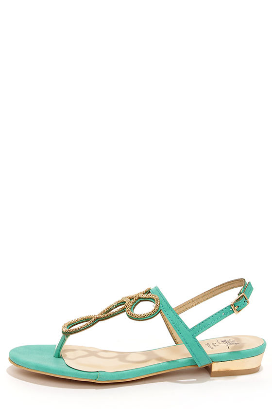 070da2099867 Fancy Teal Sandals - Embellished Sandals - Thong Sandals -  48.00
