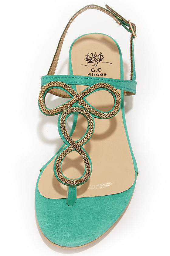 Good Choice Infinity Teal and Gold Embellished Thong Sandals at Lulus.com!