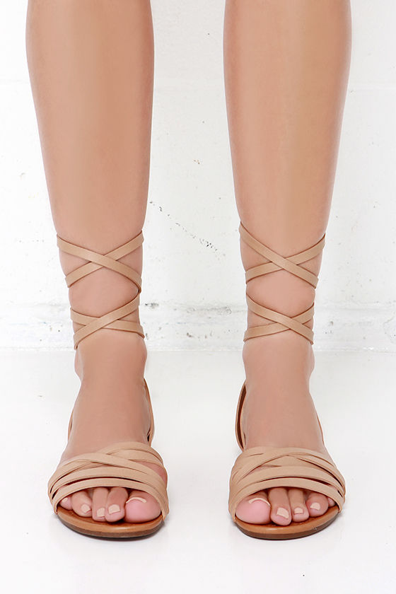 b34123a66586a2 Cute Nude Sandals - Leg Wrap Sandals - Flat Sandals -  21.00