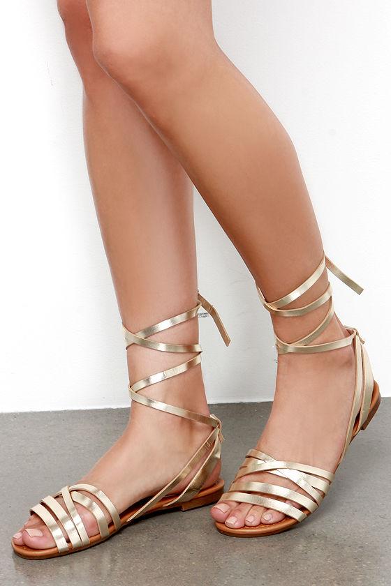 9952e916b Cute Gold Sandals - Leg Wrap Sandals - Flat Sandals -  21.00