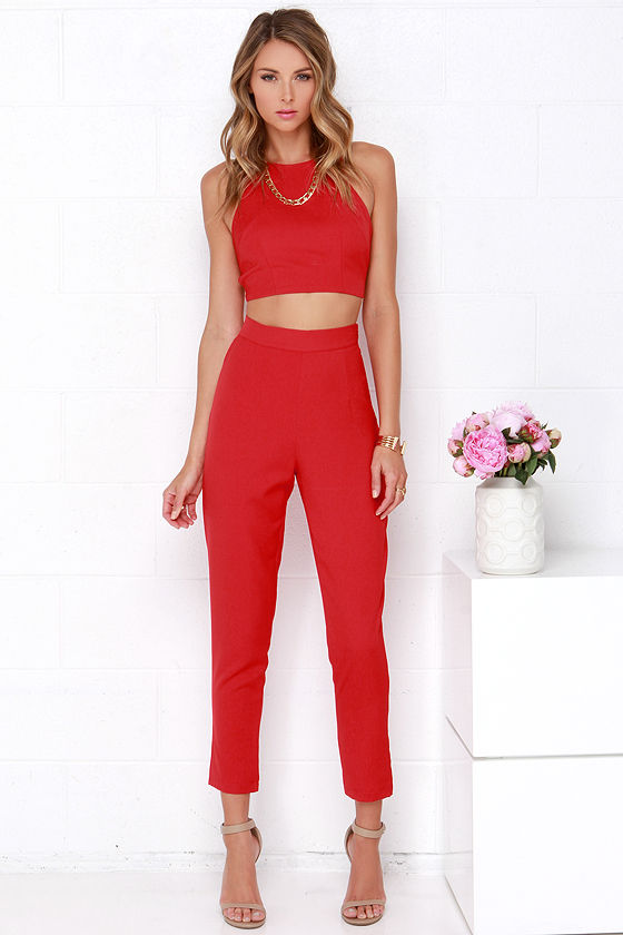 53a74008bd34b Red Two-Piece Set - Two-Piece Jumpsuit -  59.00