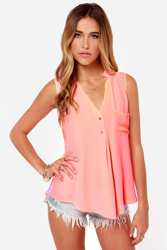 Adore You Neon Coral Tank Top at Lulus.com!