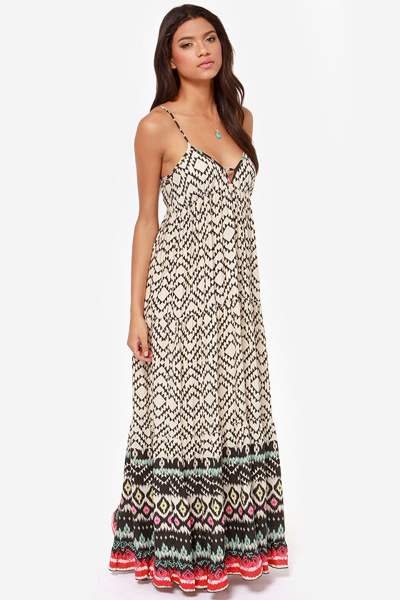 Billabong Brighter Than Black and Beige Print Maxi Dress at Lulus.com!