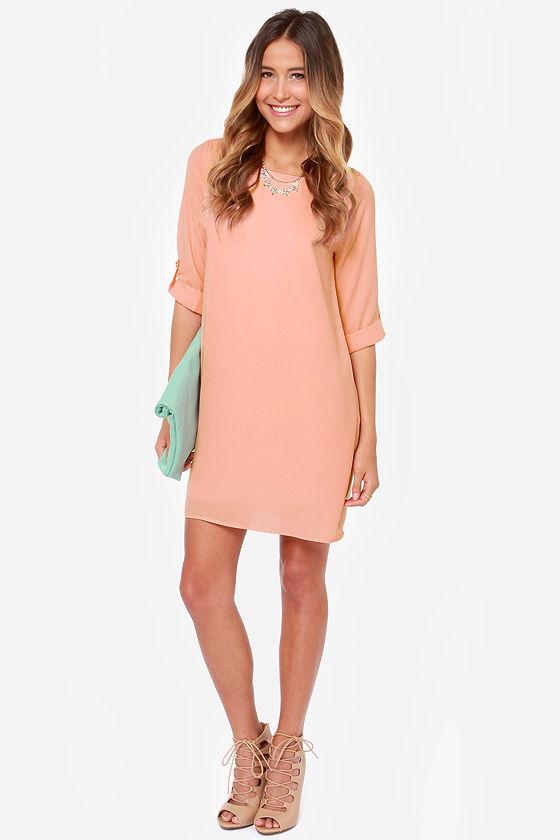 3bae393f0d46 Pretty Peach Dress - Shift Dress - Buttoned Tab Sleeves -  43.00