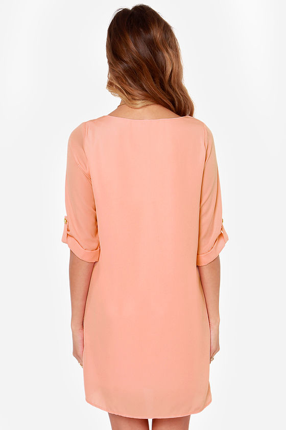 Love You More Peach Shift Dress at Lulus.com!