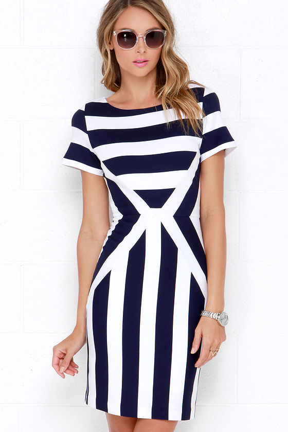 Striped Dress - Bodycon Dress - Ivory and Navy Blue Dress -  55.00 655a1d26e